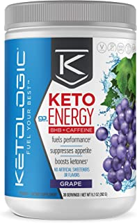KetoLogic KetoEnergy BHB with Caffeine, Grape | Beta-Hydrobutyrate Salts Ketone Powder Supplement | Supports Low-Carb, Keto Diet & Pre-Workout | 30 Servings