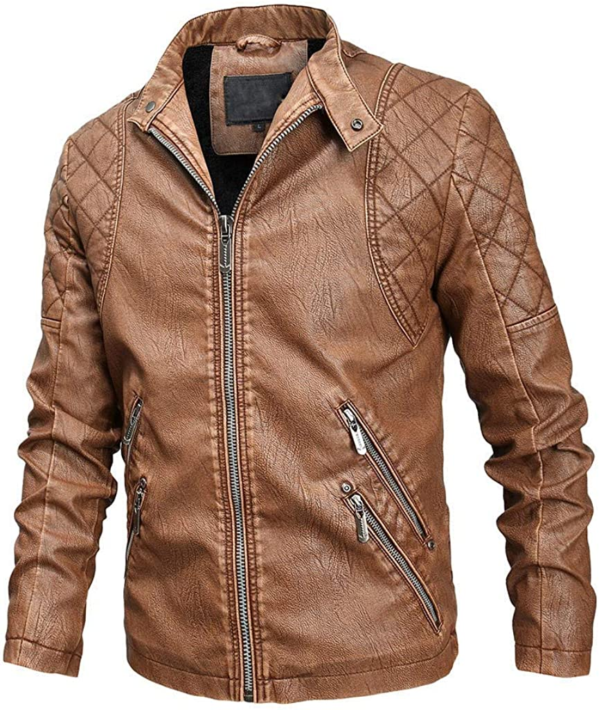 Leather Motorcycle Jackets Men, NRUTUP Casual Slim Fit Coats Zipper Faux Leather Coat Outerwear Stand Collar Jackets