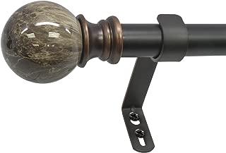 Decopolitan Marble Ball Single Curtain Rod Set, 72 to 144 Inches, Brown