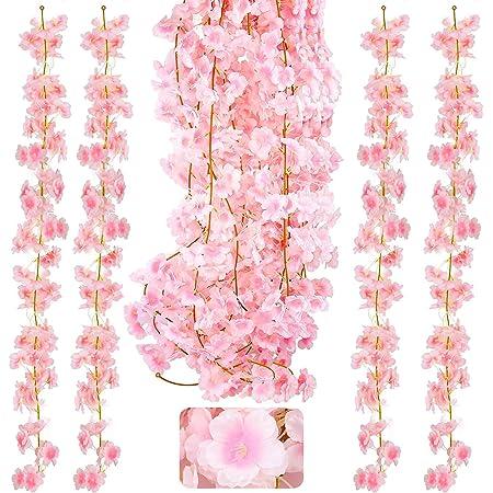 KONUNUS – Lot de 4 guirlandes de fleurs de cerisier artificielles de 1,8 m en soie à suspendre pour la maison, un mariage, un jardin, une décoration murale, une fête.