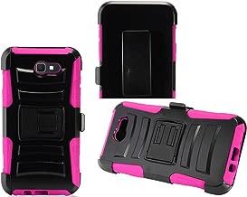 2Layer Rugged Rubber Case Cover w/Holster Belt Clip for Samsung Galaxy J7 (2017) / J7 Halo / J7 V XLTE/ J7 Perx / Sky Pro 2017 Phone (Black on Pink)