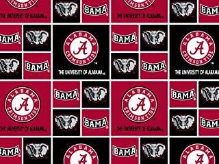 University of Alabama Crimson Tide Football Licensed Block Cotton Fabric 45'' Sold by The Yard