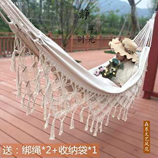 Tassel double hammock canvas hammock increase cotton Bohemian outdoor indoor photography props (Size : 200 * 150cmBlack)