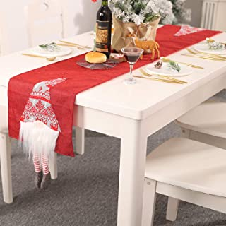 Walant Drapeau de Table de Noël Décoration Faceless Poupée Rudolph pour Noël Fête Linge de Maison Chemin de Table à Manger...