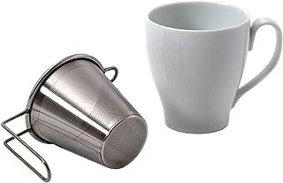 西海陶器 マグカップ ホワイト 240mm 手付SS茶こし付 44791&19357