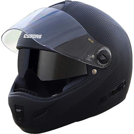 Steelbird Cyborg Double Visor ABS Material Shell Full Face Helmet, Inner Smoke Sun Shield and Outer Clear Visor (Large 600 mm, Dashing Black)