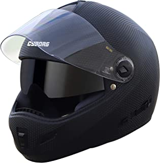 Steelbird Cyborg Double Visor Full Face Helmet, Inner Smoke Sun Shield and Outer Clear Visor (Large 600 MM, Dashing Black)