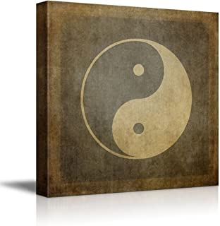 Canvas Prints Wall Art - Yin Yang Symbol on Vintage, Textured Background - 24