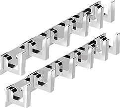 DOCOSS 6 Pin Bathroom Cloth Hooks Hanger Door Wall Bedroom Wardrobe Robe Rail for Hanging Keys (Silver, S2_k79_L_shapes_6_PIN_HOOKs_s) - Pack of 2