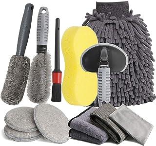 LICQIC Autoverzorgingsset, 12-delige reinigingsset, microvezel, voor het wassen van de auto, motorfiets, binnen en buiten,...