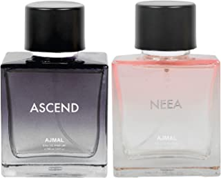 Ajmal Ascend for Men and Women & Neea for Women EDP Combo pack of 2 each 100ml (Total 200ML) + 4 Parfum Testers