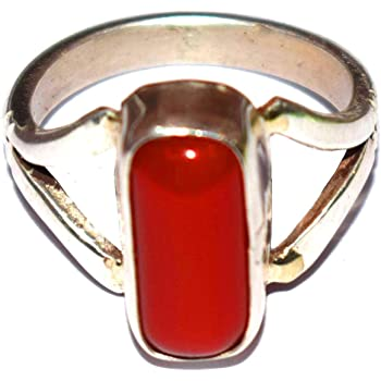 Moonga by GEMS HUB Red Coral Ring 8.00 Ct. Moonga//Munga Stone Panchadhatu Ring for unisex Red