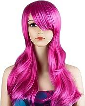 Ecvtop Wigs 28 inch Wavy Curly Cosplay Wig Women Wig Long Hair Heat Resistant Wig (Hot Pink)