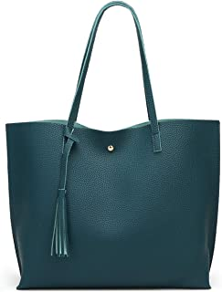 666b90da87a9fd Women's Soft Leather Tote Shoulder Bag from Dreubea, Big Capacity Tassel  Handbag