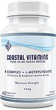 Coastal Vitamins L-Methylfolate 2.5 mg + B Complex Cofactors & Essential Amino Acids - Active Folate, Methylated B12, B6 and Glycine for Brain, Heart & Fetal Health, 60 Count (2 Month Supply)