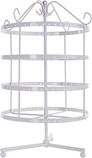 4 Tiers White Rotating Spin Table Top 92 pairs Earring Holder Organizer Stand/Jewelry Stand Display Rack Towers
