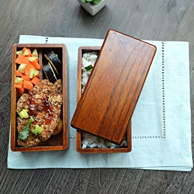 Food Carriers AOOSY Natural Wooden Japanese Bento Lunch Box Food Storage Container with Spoon and Fork Set