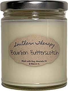 Bourbon Butterscotch Candle Moisturizing Scented Soy Candle, Long Burning, Organic