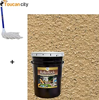 Toucan City String Mop and DAICH RollerRock 5 gal. Self-Priming Harvest Tan Exterior Concrete Coating RRPL-HT-189