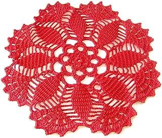 Centrino rotondo rosso all'uncinetto in filato di cotone - Dimensioni ø 26 cm - Handmade - ITALY
