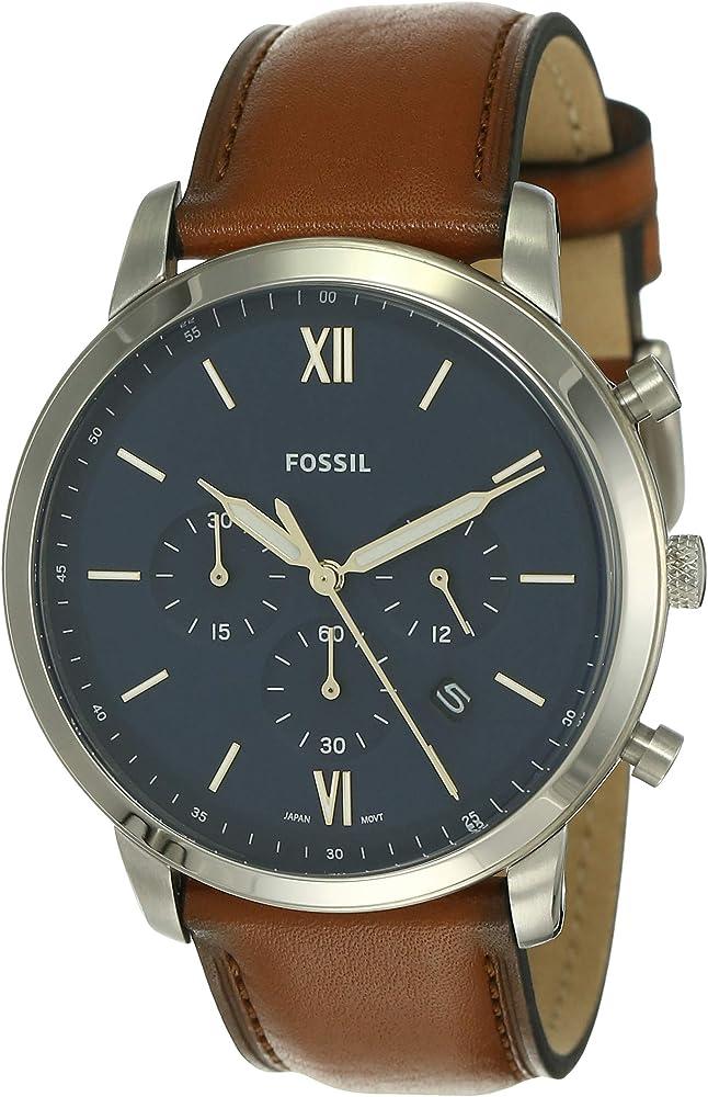 Fossil orologio, cronografo per uomo,in acciaio inossidabile e cinturino in vera pelle FS5453