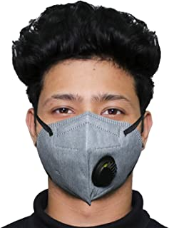 ORILEY N95 CE & ISO Certified 5 Layer Disposable Face Mask with Nose Pin & Respirator for Men & Women (Grey, 1 PC)