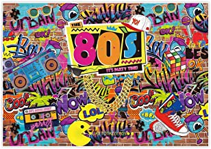 Allenjoy 7x5ft Fabric 80s Party Backdrop for Pictures Hip Hop Rock Punk Music Disco Retro Adult Birthday Colorful Graffti Brick Wall Event Banner Decorations Photo Booth Shoot Photography Background