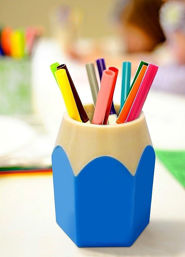 Supplies Cup Organizer, Adorable Pencil Tip Design Pen & Pencil Cup Holder, Blue Desk Organizer. By Mega Stationers