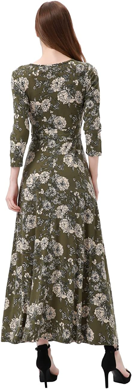 Aphratti Womens Faux Wrap Maxi Dress with Sleeves Floral Fit Flare Long Dresses