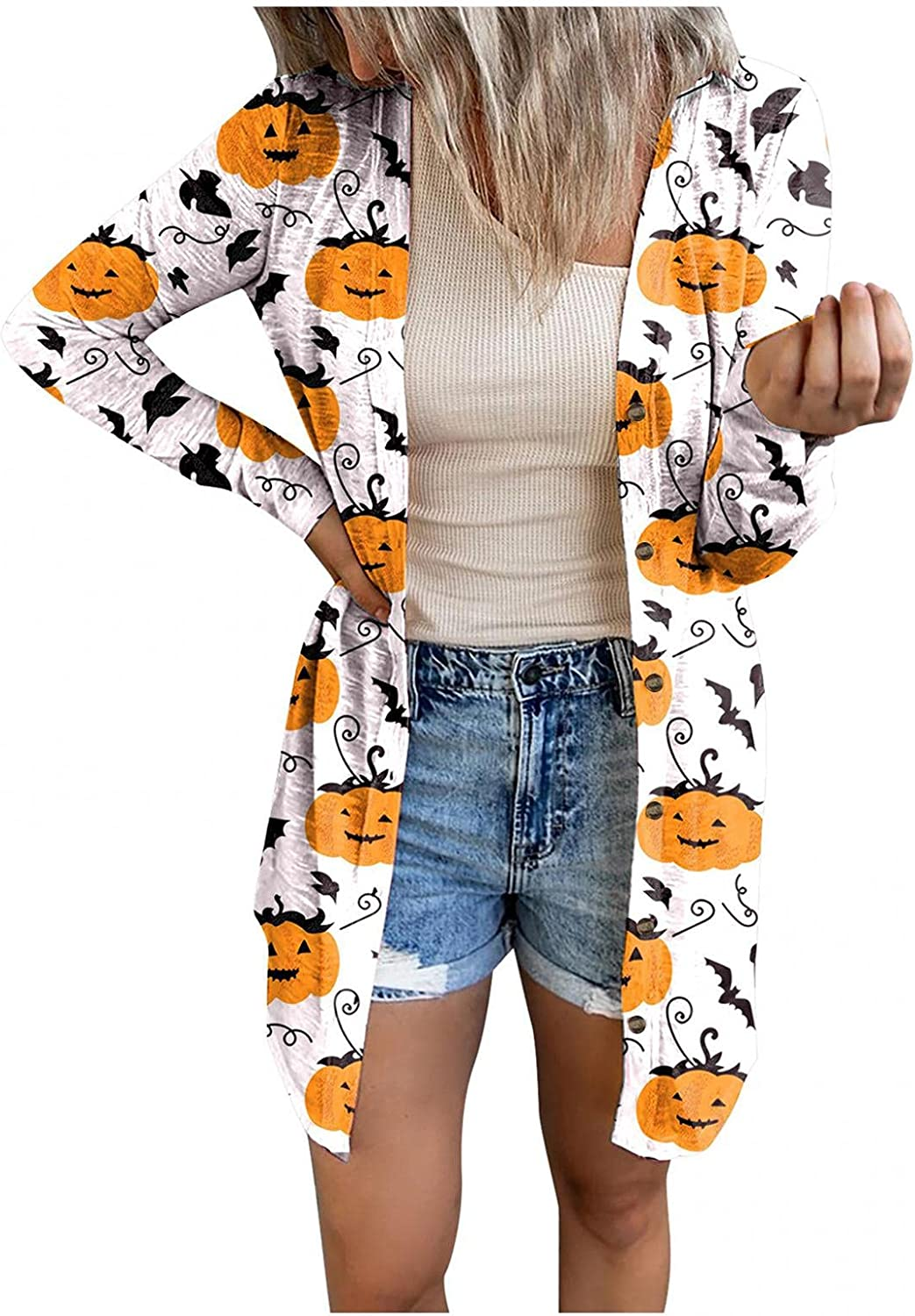 Womens Long Sleeve Cardigans Surprise price Halloween Print Front Con Genuine Open Knit