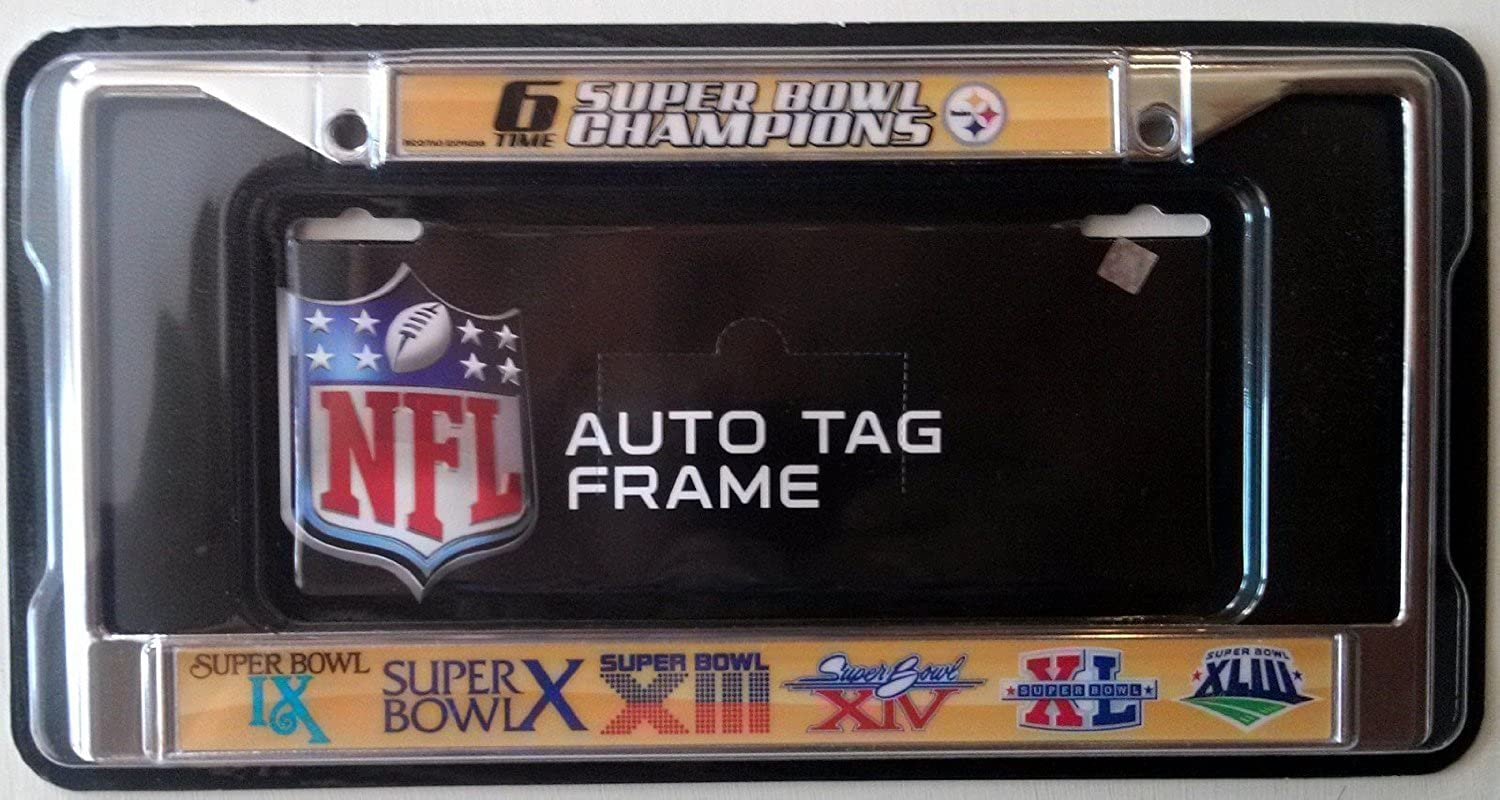 Pittsburgh Steelers 6X Champions Metal Chrome License Plate Frame Cover Football