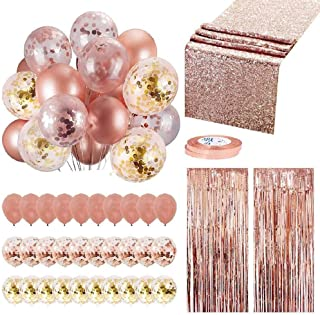 Rose Gold Party Decoration Set, Womdee 35 Pcs Party Supplies Includes 30 Balloons, 2 Foil Fringe Curtains, 1 Rose Gold Seq...