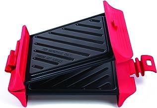 B.Bad 70118– Grill cuadrado para microondas, color negro y rojo