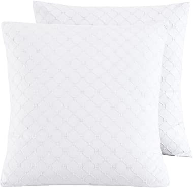 "PHF 100% Cotton Matelasse Textured Euro Sham, 26""x 26"", Set of 2, Home Decorative Euro Throw Pillow Covers for Couch Sofa Bed"