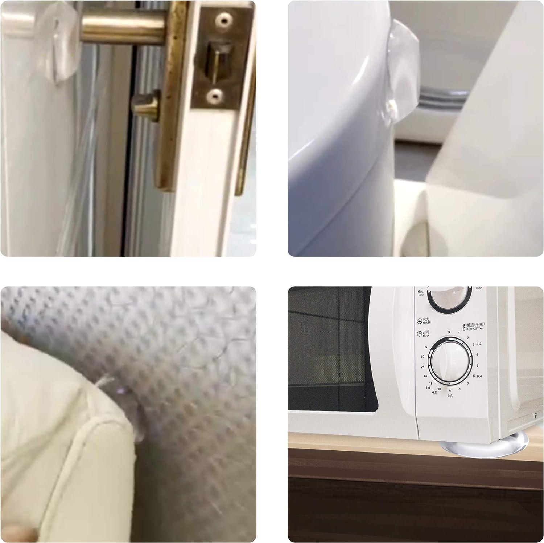 Clear Door Stopper Wall Protector,Dermasy 6 PCS Round Soft Rubber Door Stopper Wall Protector Reusable Self Adhesive Door Handle Bumper for Wall and Refrigerator Door Quiet Shock Absorben