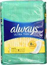 Always Ultra Thin Regular Without Wings, Unscented Pads 44 Count
