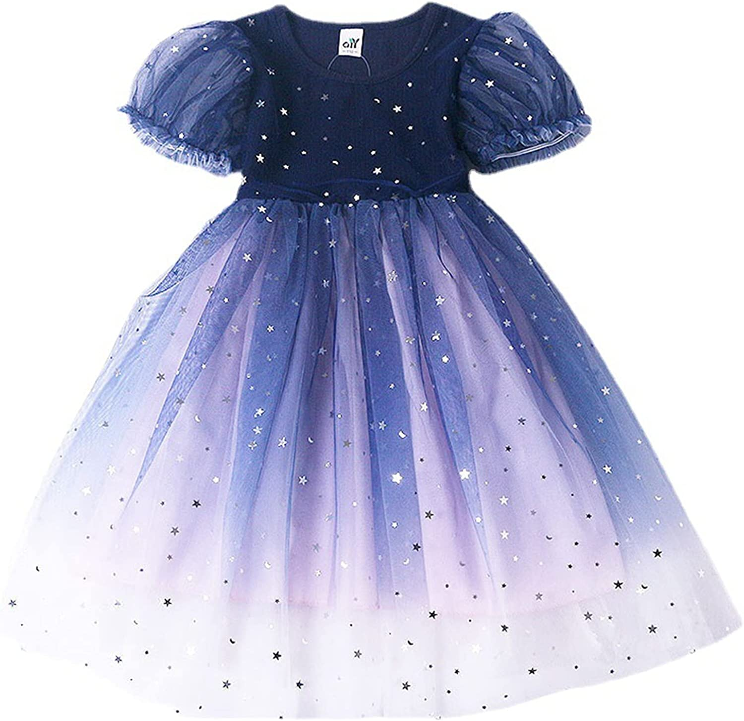 Generic2 Girls Summer Princess Dress Breathable Casual Round Neck Puff Sleeve Dresses Children Wedding Party Dresses