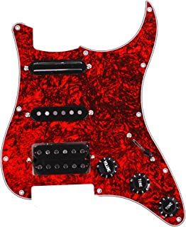 SSH Loaded Prewired Pickguard Set Alnico Dual Rail Humbucker for Fender Strat ST Electric Guitar Replacement - BWB (Red)