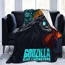 Rustic Fleece Bed Blankets, Godzilla Monsters Mothra Rodan King Ghidorah Fanart Halloween Throw Blankets, Winter Ultra Soft Warm Blanket for Girls Farmhouse Bedroom