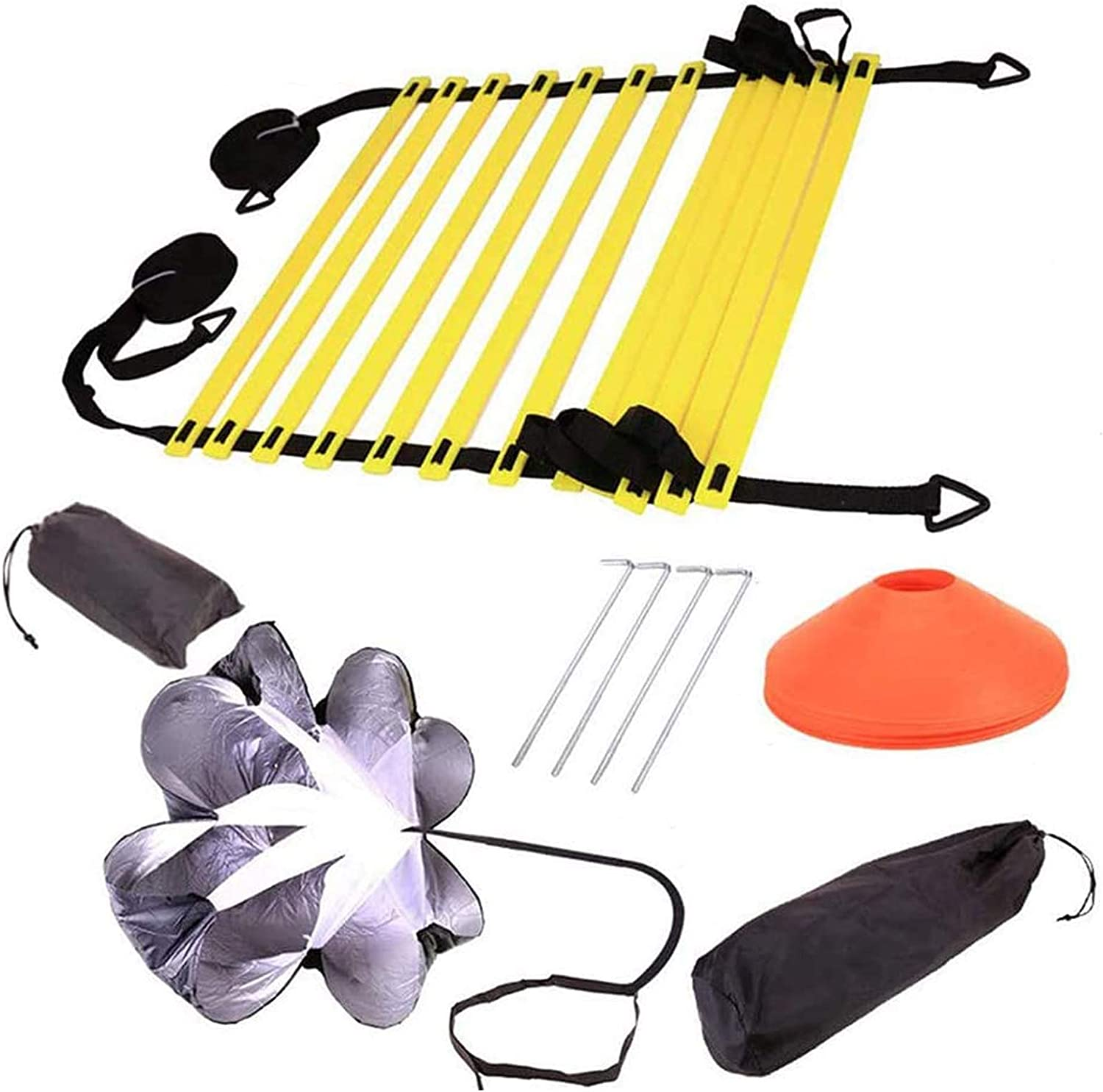 Folamer Speed Agility Training Equipment Set — Includes Agility Ladder with Carry Bag, 5 Disc Cones, Resistance Parachute, 4 Ste