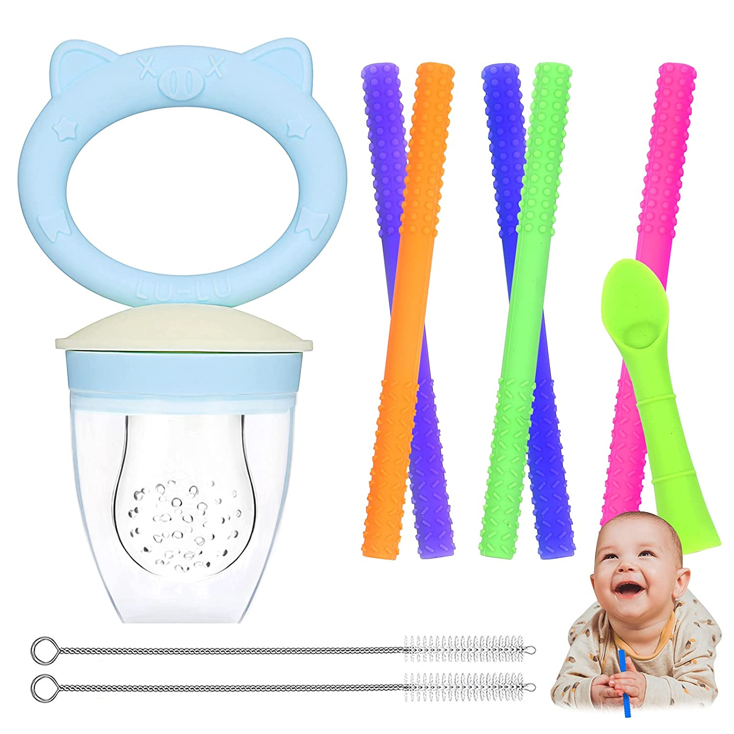 Hollow Teething Tubes, Moduskye 7 in 1 Teething Tubes Set Soft Silicone Teething Toys for Babies (6-18 Months) Included 5 Teething Tubes and 2 Cleaning Brushes