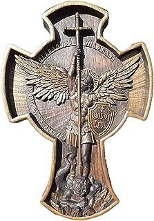 HFDHD Statue de l'archange Michael, archange Michael la Croix, Sculpture Religieuse d'ange de Collection, icône Religieuse...