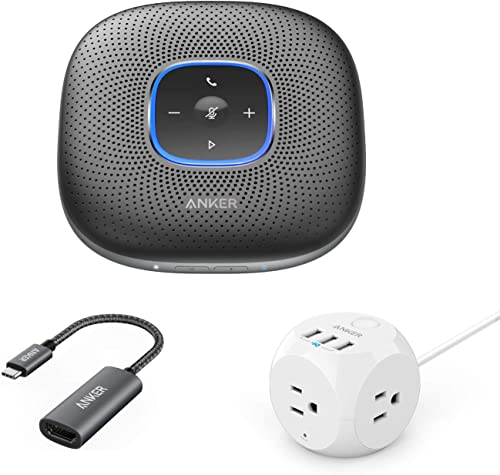 popular Anker PowerConf, PowerPort Cube, PowerExpand+ Conference Bundle, Portable Bluetooth Speakerphone with Enhanced Voice Pickup, Compact USB Power wholesale Strip with 3 Outlets & 3 USB Ports, USB C 2021 to HDMI Adapter outlet online sale