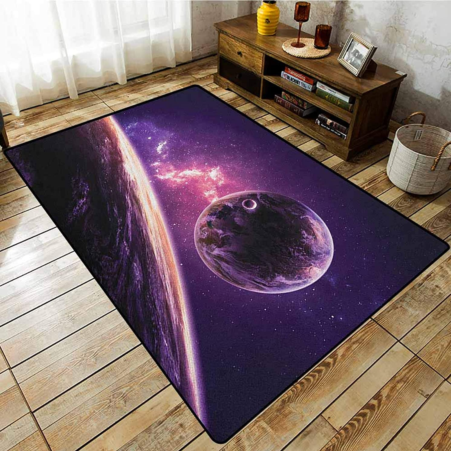 Living Room Area Rug,Galaxy,Planets Over Purple Nebula Celestial Comet Magic Rays Universe Astronomy Picture,Extra Large Rug Magenta Mauve