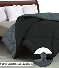 """Cloth Fusion Pacifier 2nd Generation 200GSM Microfiber Reversible AC Comforter for Double Bed - (90""""x100"""") Inches, Black & Grey"""