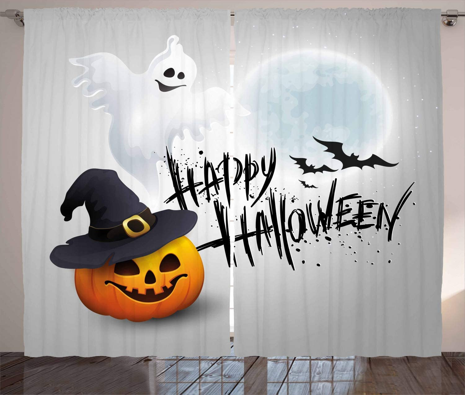 Ambesonne Halloween Curtains Stained Look Bargain Max 86% OFF on Grey Backdro Ombre