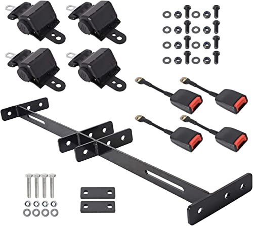 new arrival findmall wholesale 4 Retractable Golf Cart Seat Belts and Bracket Kit online Replacement for Golf Carts EZGO Yamaha Club Car sale