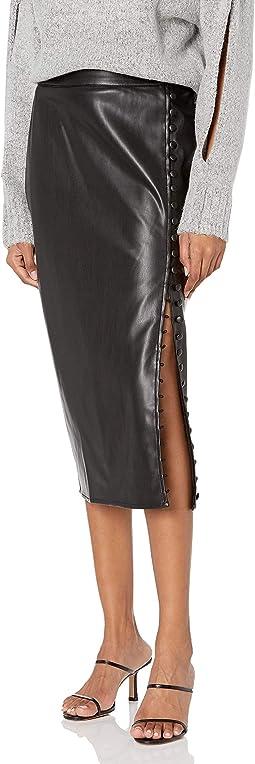 Vegan Leather Side Slit Pencil Skirt