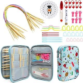 KOKNIT Circular Knitting Needles Set, Bamboo Knitting Needles Storage Organizer for Beginners, Round Knitting Needles with...