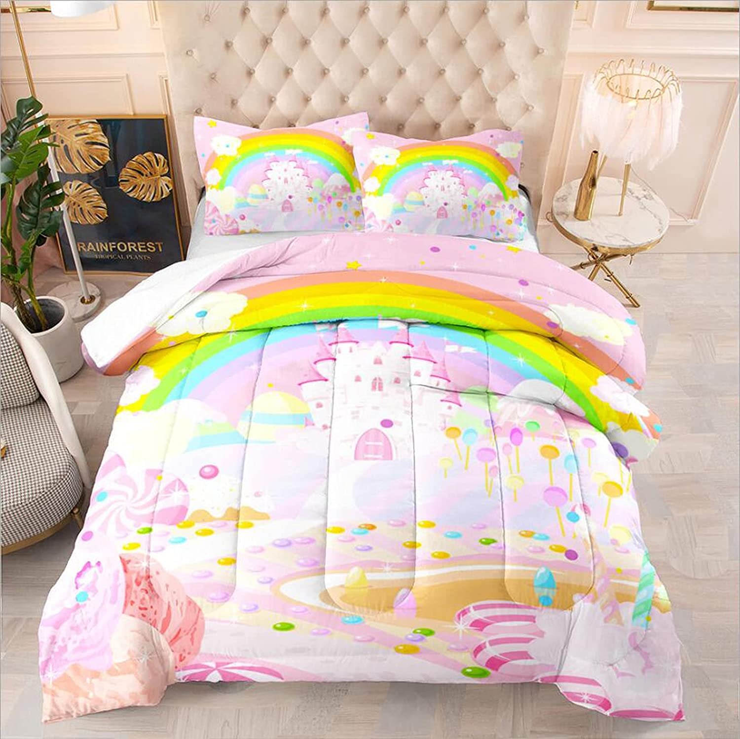 Pink Comforter Sets for Girls Twin Kids Bedding Special sale item Direct stock discount Size Set Rainbow